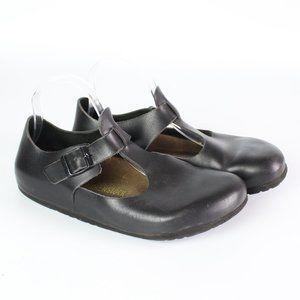Birkenstock Bonn black leather t-strap clog shoe
